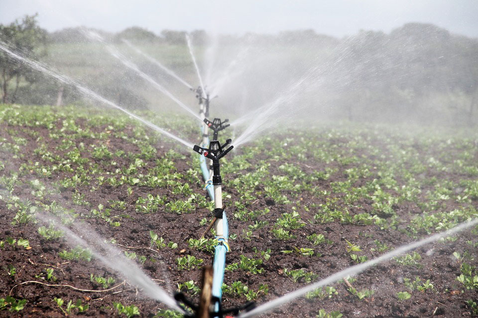 A photo of an irrigation system on a farm in Africa