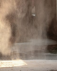 Dust generated by a mill